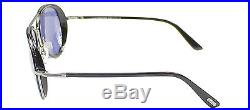 New Tom Ford TF 341 Miles 14V Black Silver Aviator Sunglasses Blue Lens