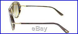 New Tom Ford TF 341 Miles 28K Dark Havana Gold Aviator Sunglasses
