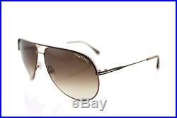 RARE New Authentic TOM FORD ERIN Aviator Matte Brown Gold Sunglasses TF 466 49E