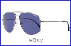 RARE TOM FORD GEORGES Ruthenium Blue Lens Pilot Sunglasses TF 496 FT 0496 14V