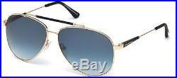 Sunglasses/gafa De Sol Tom Ford Rick Ft 0378/s 28w Rose Gold Black/blue Shaded