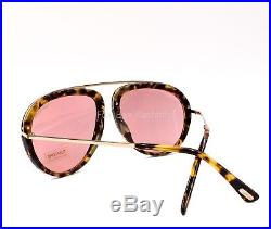 TOM FORD 452 53Z STACY Aviator Sunglasses Yellow TortoisePink Rose Gold Flash