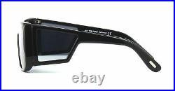 TOM FORD ATTICUS FT0710 01C Sunglasses Black Frame Gray Silver Mirror Lenses