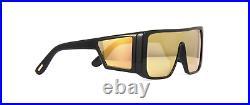TOM FORD ATTICUS FT0710 01G Sunglasses Black Frame Orange Gold Mirror Lenses