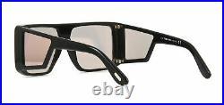 TOM FORD ATTICUS FT0710 01Z Sunglasses Black Frame Rose Gold Flash Mirror Lenses