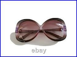 TOM FORD Butterfly Sunglasses MARGOT TF226 50Z Transparent Brown Violet $295.00