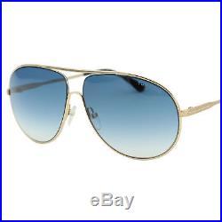 TOM FORD Cliff FT-0450 28P Men Gold & Blue Curved Aviator Pilot Sunglasses 61mm