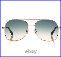 TOM FORD Delilah FT0758 28P Sunglasses Rose Gold Frame Gradient Green Lens 58mm