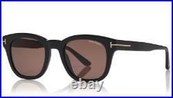 TOM FORD Eugenio FT0676 01E Sunglasses Shiny Black Frame Brown Lenses 52mm
