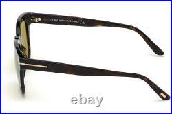 TOM FORD Eugenio FT0676 52N Sunglasses Dark Havana Frame Green Lenses 52mm