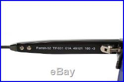 TOM FORD FARRAH 2 0631 01A Mens Medium Square Round Retro Sunglasses BLACK GREY