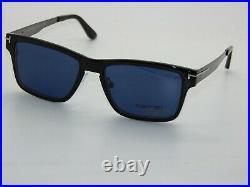 TOM FORD FT 5475/V 12V Dark Ruthenium Eyeglasses with Clip On 54mm Sunglasses