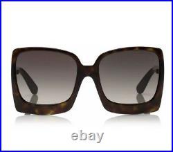 TOM FORD FT0617 TF 617 52K Katrine 02 Dark Havana Brown Grey Women Sunglasses
