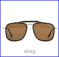 TOM FORD FT0665 01E Sunglasses Shiny Black Frame Brown Lenses 58mm