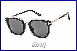 TOM FORD FT0804-K 01D Sunglasses Shiny Black Frame Smoke Polarized Lenses 56 mm