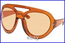 TOM FORD FT0886-45E-68 Sunglasses Size 68mm 115mm 22mm Shiny Light Brown Brand