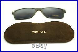 TOM FORD FT5475 12V Men Square Metal Eyeglasses GREY + CLIP ON BLUE SUNGLASSES
