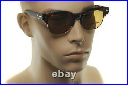 TOM FORD HARRY TF597 56E Mens Soft Square Browline Retro Sunglasses BROWN HAVANA