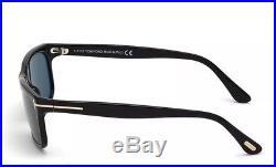TOM FORD HUGH TF337 01N Polished Black Frame Grey Polarized Lenses Men Sunglass
