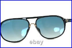 TOM FORD JACOB TF447F 01P 61mm Men Large Square PILOT Sunglasses BLACK GOLD BLUE