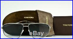 TOM FORD JUSTIN AVIATOR FT0467 13B Satin Gunmetal-Grey Gradient TF467 NEW 60mm