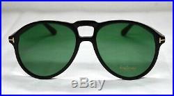 TOM FORD LENNON-02 TF645 01N SHINY BLACK GREEN LENSES AVIATOR SUNGLASSES. 57mm
