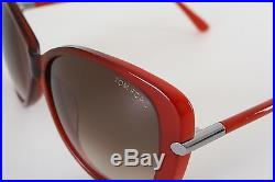 TOM FORD Linda red metal trimmed oversized butterfly gradient lens sunglasses