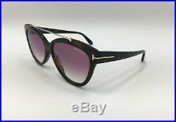 TOM FORD Livia TF 518 52Z Dark Havana CatEye Women Sunglasses ROSE GRADIENT Lens
