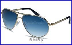 TOM FORD MARKO James Bond 007 SKYFALL Men Pilot Sunglasses GOLD BLUE 0144 28W 58