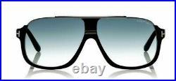 TOM FORD Men Square SUNGLASSES Matte Black Blue Gradient ELIOTT 0335 02W 60mm