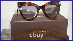 TOM FORD New Sunglasses Cateye Karina-02 Havana Light Blue TF612 53Z 47 24 140