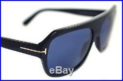 TOM FORD OMAR TF465 01V 59mm Mens Plastic Square Aviator Sunglasses BLACK BLUE