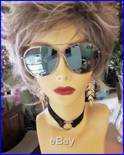 TOM FORD Oversized EVA Sunglasses Gold Frame/Blue Mirror Lens TF 374-28X NIB
