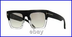 TOM FORD RENEE FT0847 05C Sunglasses Black & Clear Frame Gray Lenses 52mm