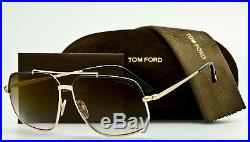 TOM FORD RONNIE FT0439 01G Gold-Black-Brown Gradient Aviator 60mm TF439 NEW CASE