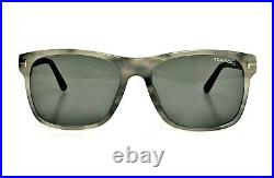 TOM FORD Rectangle Men SUNGLASSES Shiny Grey Marble Green GIULIO 0698 47N 59mm