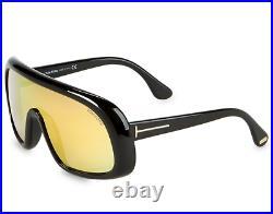 TOM FORD SVEN FT0471 01L Sunglasses Shiny Black Frame Roviex Mirror Lenses