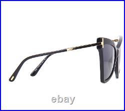 TOM FORD TALLULAH FT0767 01A Sunglasses Black Gold Frame Grey Lenses 61mm TF767