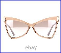 TOM FORD TALLULAH FT0767 57G Sunglasses Beige Crystal Frame Silver Lenses 61mm