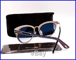 TOM FORD TF 373 01B Nina Retro Sunglasses Black Gold New