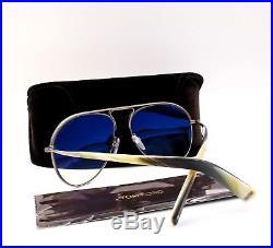 TOM FORD TF 448 14P Cody Aviator Sunglasses Matte Gunmetal Green Gradient NEW