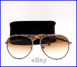 TOM FORD TF 448 33F Cody Aviator Sunglasses Antique Gold Brown Gradient New