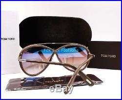 TOM FORD TF 454 59K Tamara Butterfly Sunglasses Dark Taupe New