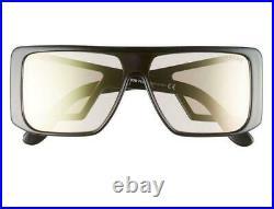 TOM FORD TF0710/S-01Z ATTICUS Shield Sunnies Shiny Black/Violet Mirror Lens NEW