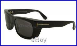 TOM FORD TOBY Men Deep Rectangle Sunglasses SHINY BLACK GOLD GREY 0440 01A 56