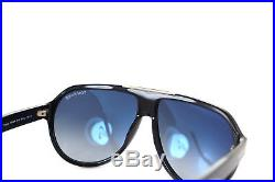 TOM FORD TRUMAN TF464 01W 61mm Mens FLAT TOP AVIATOR Sunglasses BLACK BLUE GOLD