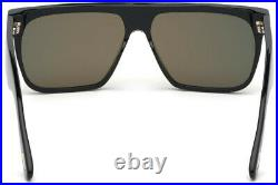 TOM FORD WHYAT FT0709 01U Sunglasses Shiny Black Frame Red Mirrored Lenses