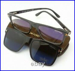 Tom Ford 5682 B 001 Clip On Black Eyeglasses Authentic Frames Blue Block Lens