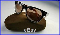 Tom Ford 9257-05j Gloss Black Exterior Havana Interior Sunglasses Made In Italy