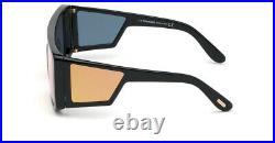 Tom Ford ATTICUS FT 0710 01G Shiny Black Frame Brown Mirror Lens Sunglasses New